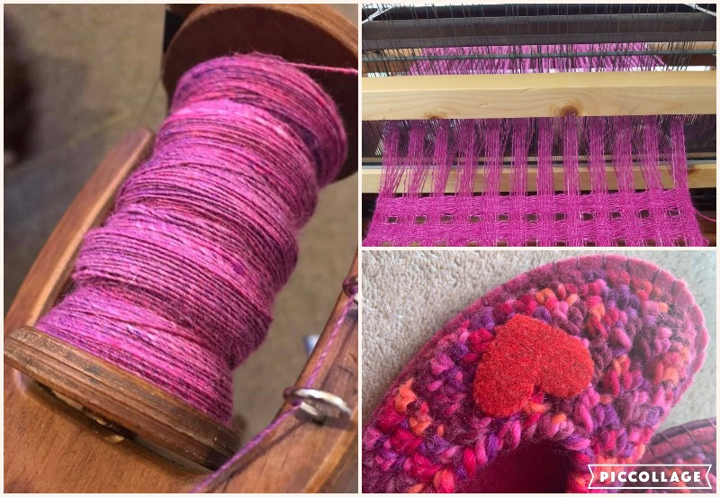 Pink themed photo collage of spun singles on a bobbin, pink lace weaving and some handmade slipper.